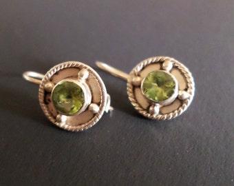 Sterling Silver 925 Stamped, Peridot Glass Stones Dangle Earrings.