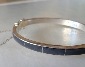 Sterling Silver 950 Stamped, Made in Chile, Vintage Black Onyx Hinged Bracelet with Security Chain.