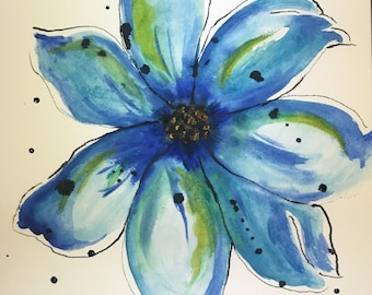 Watercolor and India ink Flower Painting