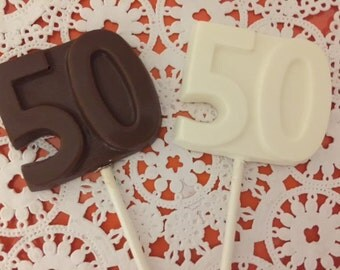 "Number Fifty ""50"" Chocolate Lollipops(12 qty) 50th Birthday Party Favors/50th Anniversary Favor/Golden Anniversary Favor/Chocolate Number 50"