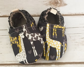 Spotted love tula shoes, giraffe shoes, baby moccs, toddler shoes, newborn shoes, baby booties, soft sole, stay on booties, baby gift