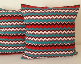 Handmade Cushion cover, pillow cover, zigzag, red, green, black, white