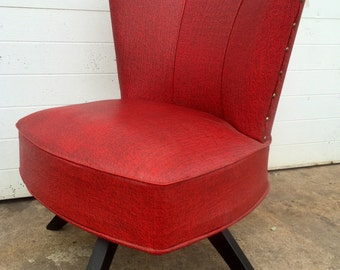 Mid Century Red Swivel Chair