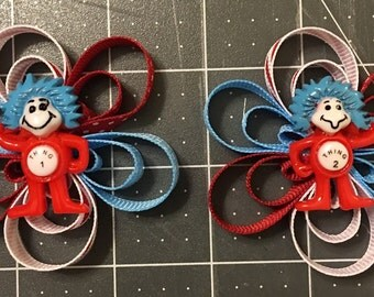 Thing 1 and Thing 2 hair clips