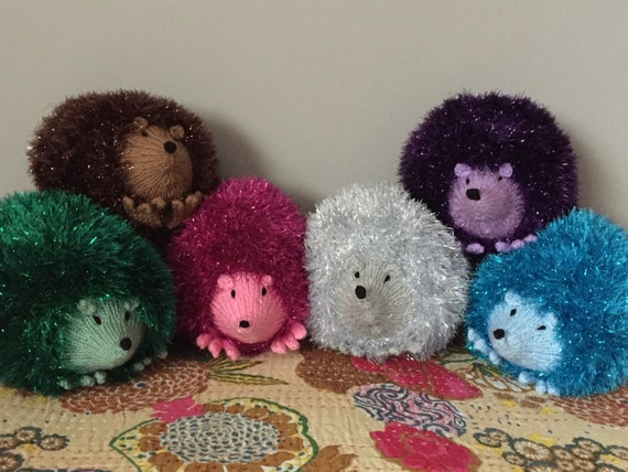 Sparkly Hedgehog Knitting Pattern : Hand Knitted Sparkly Woollen Hedgehog Soft Toy ALL proceeds