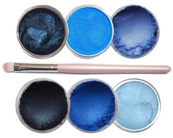 Ultimo Minerals THE BLUES Pigments Eye Shimmer Shadow Liner Kit + Brush - Chemical Free - Gluten Free - Free Shipping!