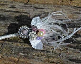 Wedding.brooch corsage.blush Pink and diamante