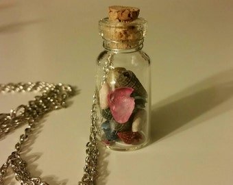Tiny Bottle Necklace, filled with seashells
