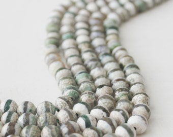 8mm Green White Tibetan Agate Faceted Round Beads Strand Tibetan Jewelry Supply