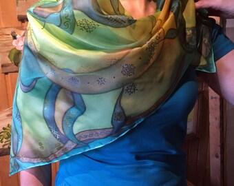Handmade Latvian ornaments/ signs on a silk & ponge scarf