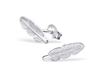SALE Sterling silver feather stud earrings SALE
