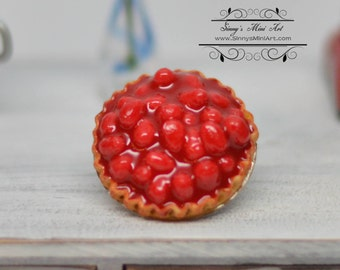1:12 Dollhouse Miniature Fresh Strawberry Pie in Tin BD K2137