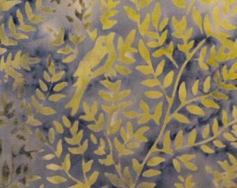 1 Fat Quarter Blue Green Yellow Bird Batik Fabric