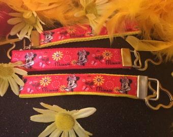 Key FOB / KeyChain / Wristlet - Minnie and Yellow Flowers