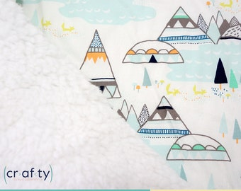 Fluffy Sherpa &  DesignerCotton Baby Blanket  • Turquoise Mountains
