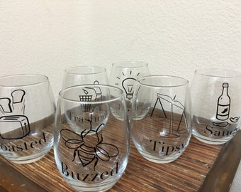 Pun-intended Wine Glass Set//adult humor//liquor//wine everything//wine-o set//