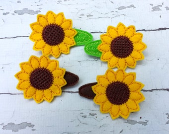 Sunflower felt hair clips.EMbroidered felt hair clips.