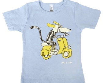 Dog riding yellow vespa scooter, light blue, baby t-shirt