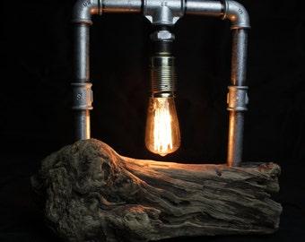 Steampunk lamp with Edison light bulb