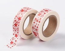 15mm Japanese Washi Tape - Red Star Washi - Red and White Washi Tape - Decorative Tape - Star Washi