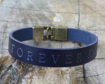 FREE SHIPPING- Mens Leather Bracelet, Bracelet For Men, Personalized Bracelet, Custom Men Wristband, Men's Engrave Blue Bracelet,