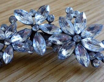 "Crystal hair clip, floral design (2"" or 5cm) (BFPO Friendly)"