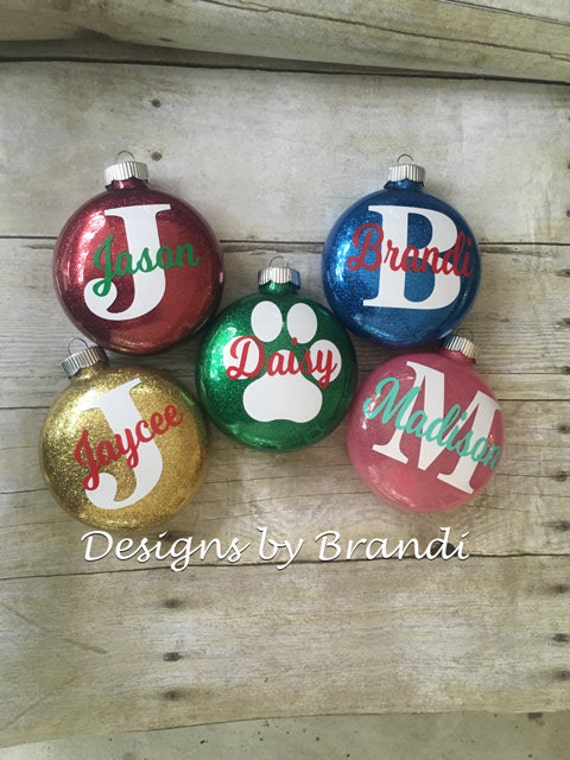Personalized glitter ornaments christmas