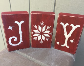 Customized Christmas winter stenciled JOY blocks, choose color, rustic decor, christmas decoration, winter decor, rustic christmas