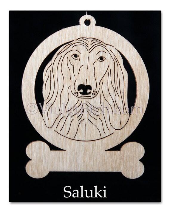 Saluki Ornament-Saluki Gift-Wood Saluki Ornament-Free Personalization