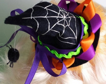 Halloween witches hat spider web girls alligator hair clip with ribbon