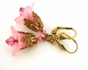 Swarovski Crystal Earrings, Pink Earrings for Women, Flower Earrings, Leverback Earrings, Short Earrings, Handcrafted Jewelry, Gift for Her