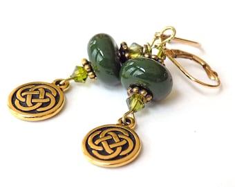 Green Dangle Earrings, Glass Earrings, Celtic Knot Earrings for Women, Leverback Earrings, Crystal Drop Earrings, Handcrafted Jewelry