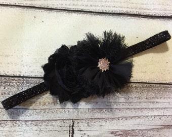 Black Baby Headband , Christmas Headbands ,Black Glitter Headband ,Black Flowers Headband ,Baby Headband