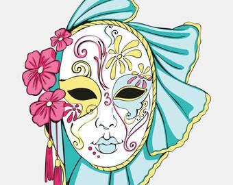 Maschere del Carnevale di Venezia Libro da Colorare Per Adulti 1