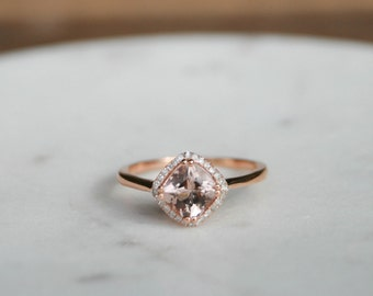 Diamond Halo Rose Gold Morganite Engagement Ring, Rose Gold Morganite Ring, Diamond Halo around Morganite, Halo Engagement Ring, Silver