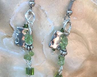 Handmade Genuine Green Peridot August Birthstone Stone Ornate Silver boho healing Earrings jewelry