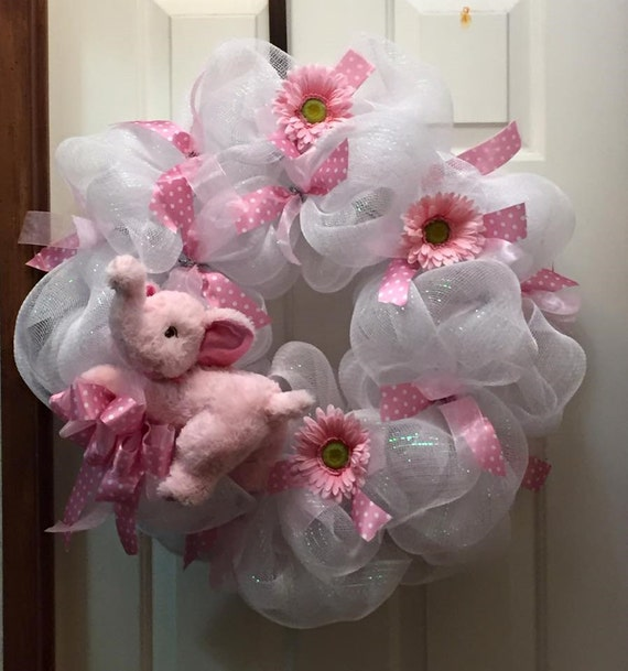 Baby decoration baby girl wreath shower gift baby girl for Baby shower front door decoration ideas