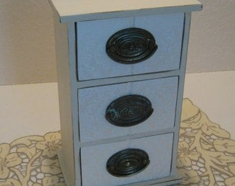 Vintage Patina Ivory Upcycled 3-Drawer Jewelry Box