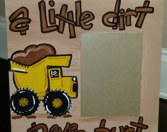 Handpainted dump truck picture frame