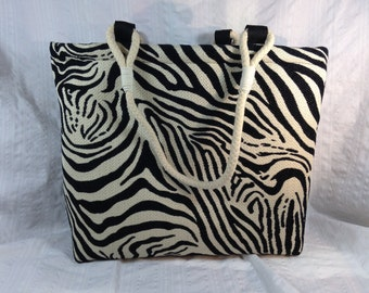 Zebra tote bag with symbol fabric lining