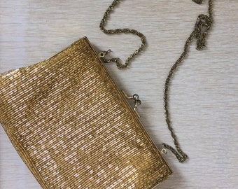 Vintage 1960's Beaded Gold Handbag Clutch With Long Gold Chain