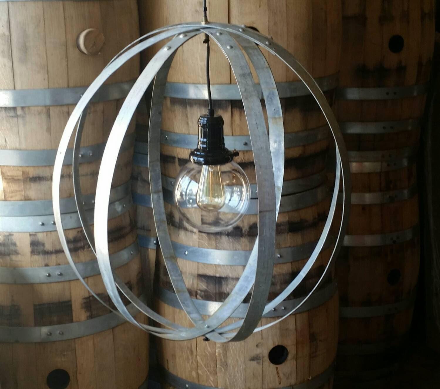 Whiskey Barrel Ring Chandelier Light Fixture