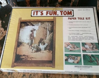 Tom Sawyer Paper Tole Kit/It's Fun,Tom/Vintage 1980s Sealed Unopened American Handicraft/Complete with Instructions/Craft Project/Papercraft