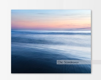 Beach Photography, Calming, Surreal Beach Scape, Coastal, California print, Fine Art Photography, Blue Wall art, Sunset Photography