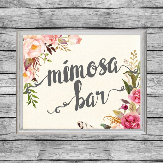 Unforgettable image in mimosa bar sign printable free