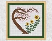 Garden heart cross stitch pattern, cherry blossom tree, sunflowers, flowers, wedding, anniversary, Valentine's Day, nature, easy, modern PDF