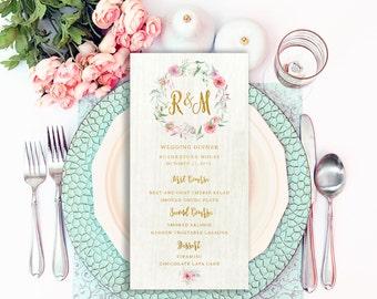 Rustic Wedding Menu, Printable Bar Menu, Menu Template, Wedding Bar Menu, Menu Card Template, Wedding Dinner Menu, Wedding Menu PDF