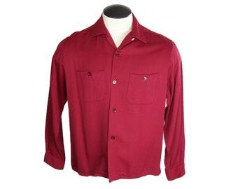 1950s Burgundy Red Rayon Gabardine Loop Collar Washable Penneys Towncraft Shirt Large 16-16 1/2