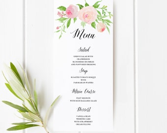 Printable Floral Boho Wedding Menu Template | Floral Wedding Menu Card | Watercolor flower | Flower | Reception Dinner