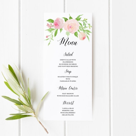 Printable Floral Boho Wedding Menu Template Floral Wedding